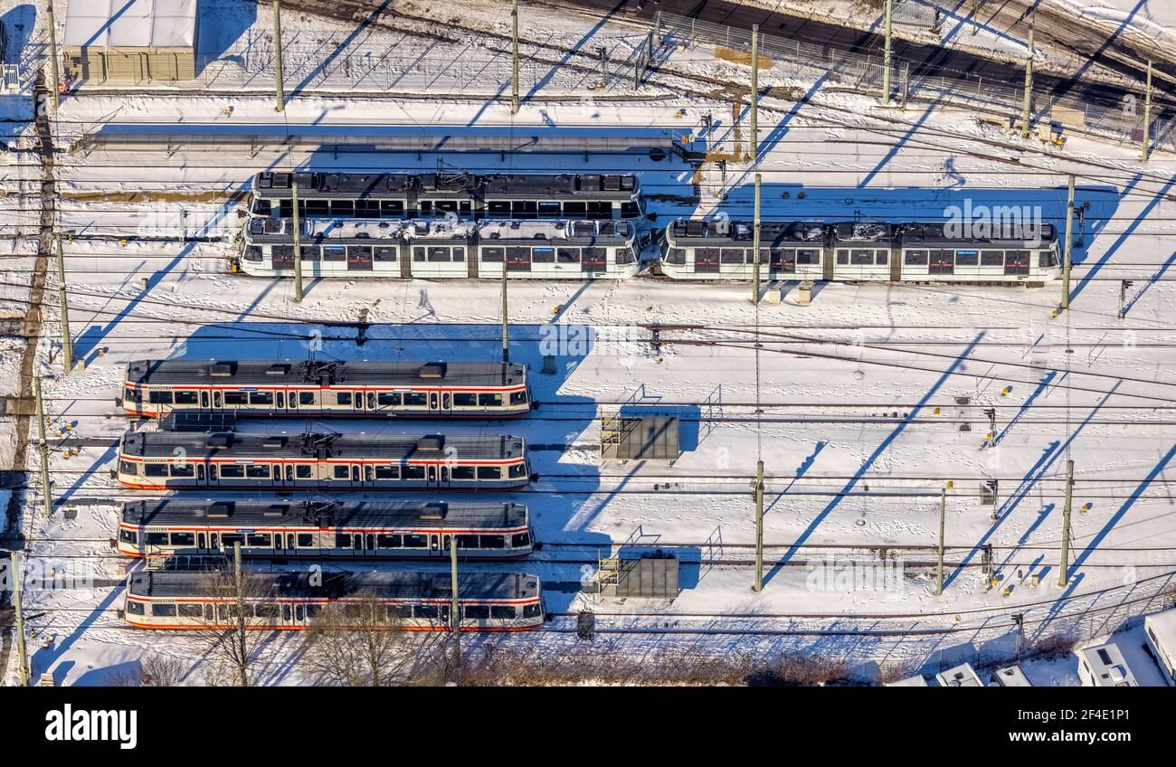Luftaufnahme, BOGESTRA AG Wartungswerkstatt Riemke, Hofstede, Bochum, Ruhrgebiet, Nordrhein-Westfalen, Deutschland, DE, Europa, Luftaufnahme, aer Stockfoto