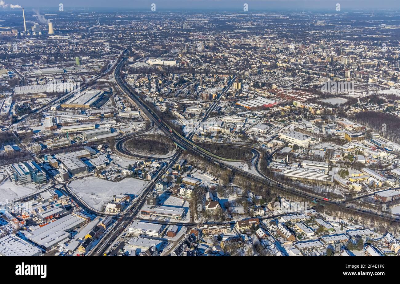 Luftaufnahme, Autobahn A43, Ausfahrt Bochum-Riemke, Stadtansicht Herne-Süd, Riemke, Bochum, Ruhrgebiet, Nordrhein-Westfalen, Deutschland, Europa, Luftphot Stockfoto