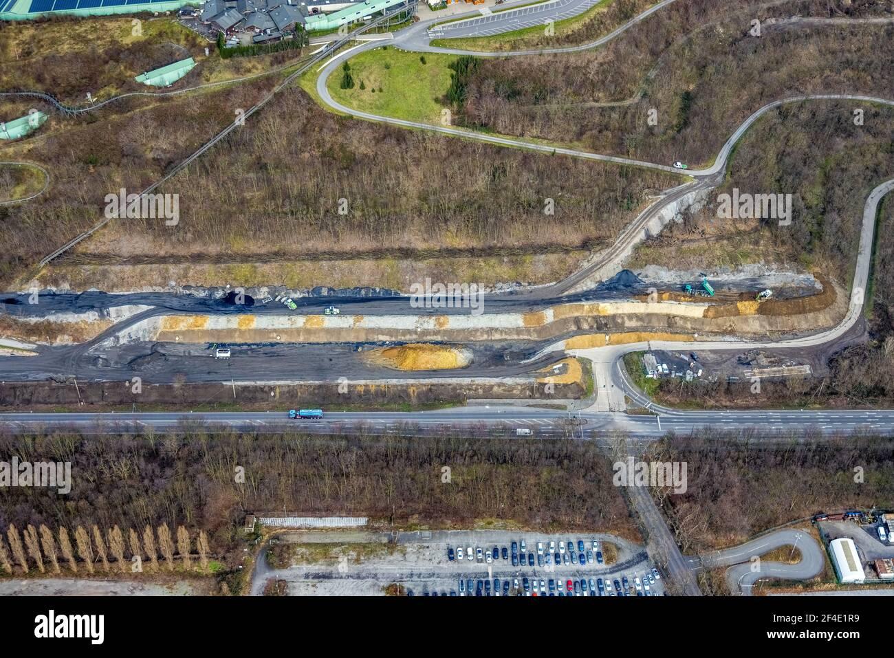 Luftaufnahme, Alpincenter Bottrop, Prosperstraße slagheap, Bottrop, Ruhrgebiet, Nordrhein-Westfalen, Deutschland, Slagheapen, DE, Europa, Freizeiteinrichtungen, Stockfoto