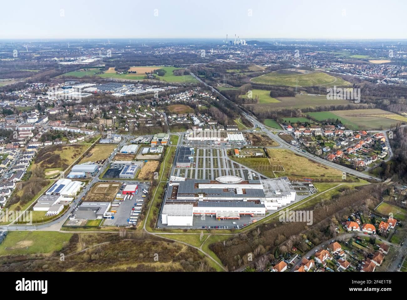 Luftbild, Ostermann Einrichtungs-Centrum Bottrop, Bottrop, Ruhrgebiet, Nordrhein-Westfalen, Deutschland, DE, Europa, Gewerbebetriebe, Gewerbefläche, G Stockfoto