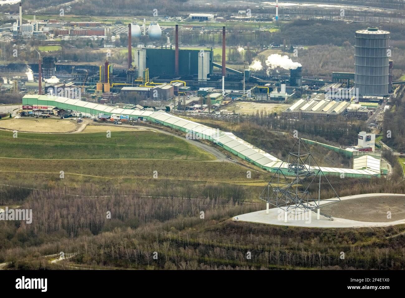 Luftaufnahme, Alpincenter Bottrop, Prosperstraße slagheap, ArcelorMittal Bottrop, Bottrop, Ruhrgebiet, Nordrhein-Westfalen, Deutschland, Slagheapen, DE, Eu Stockfoto