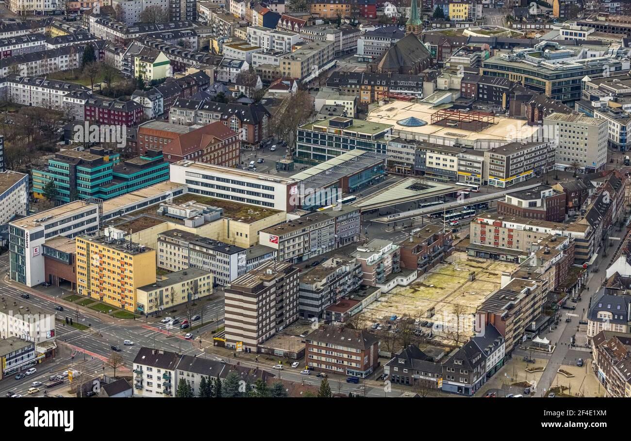Luftaufnahme, am Trapez Bottrop, Einkaufszentrum Hansa Center, Berliner Platz, Innenstadt, Bottrop, Ruhrgebiet, Nordrhein-Westfalen, Deutschland, Stadt, Stockfoto