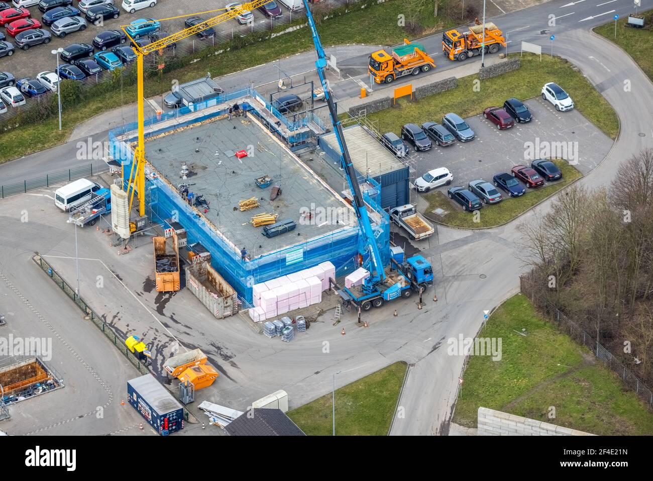 Luftaufnahme, Baustellenrecycling-Werft Donnerberg, Bottrop, Ruhrgebiet, Nordrhein-Westfalen, Deutschland, DE, Europa, Luftaufnahmen, Luftaufnahmen Stockfoto