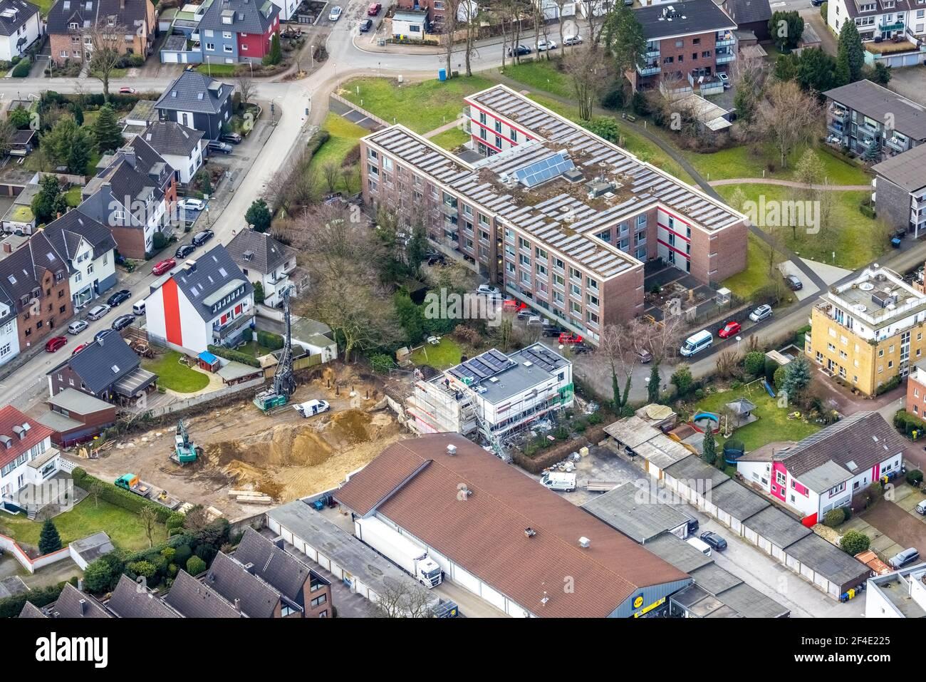 Luftaufnahme, Diakonisches Werk Gladbeck-Bottrop-Dorsten Altersheim Käthe Braus, Baustelle, Bottrop, Ruhrgebiet, Nordrhein-Westfalen, Stockfoto
