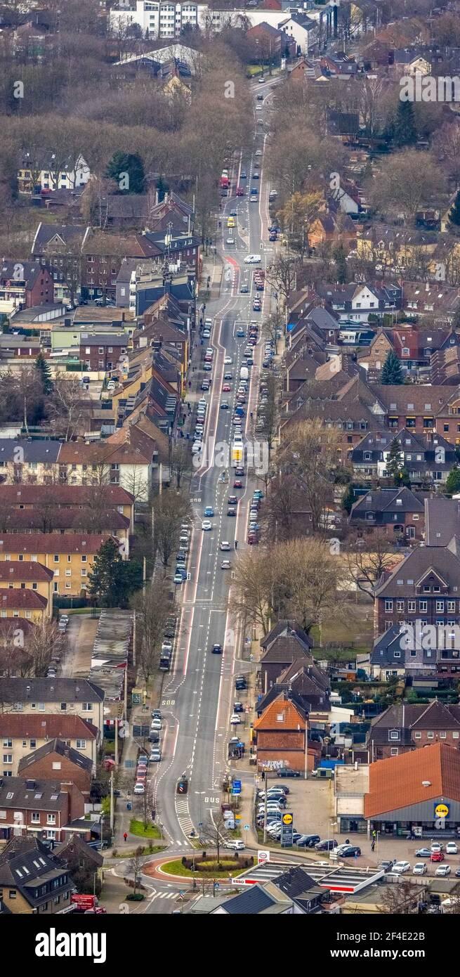 Luftaufnahme, Teutoburger Straße, Bottrop, Ruhrgebiet, Nordrhein-Westfalen, Deutschland, DE, Europa, Verkehrskreis, Luftaufnahmen, Luftbildaufnahme Stockfoto