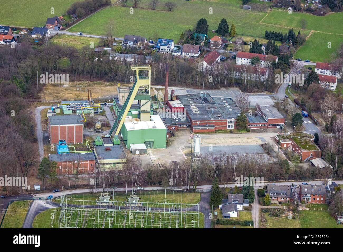Luftaufnahme, ehemalige Prosper IV Schacht 9, Bottrop-Kirchhellen, Ruhrgebiet, Nordrhein-Westfalen, Deutschland, Mine, DE, Europa, Fernaldstraße, windi Stockfoto