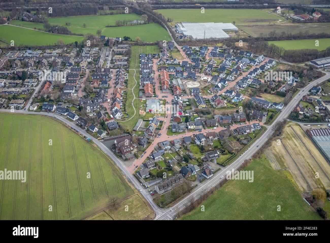 Luftbild, Baustelle für Kinderspielplatz, Wohngebiet Tappenhof, Hellenstraße und Theo-Kleppe-Weg, Bottrop-Kirchhellen, Ruhrgebiet Stockfoto
