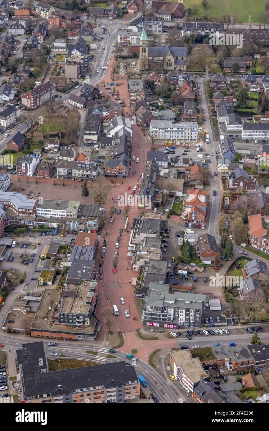 Luftaufnahme, Baustelle Neubau Kirchhellener Arkaden in der Schulstraße am Alten Markt, Ecke Kirchstraße, St. Johannes Kirche Haupt Stockfoto