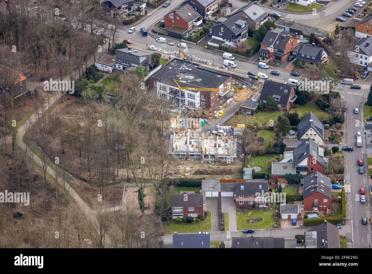 Luftaufnahme, Baustellenkindergarten Horsthofstraße, Bottrop-Kirchhellen, Ruhrgebiet, Nordrhein-Westfalen, Deutschland, DE, Europa, GBB, Kinde Stockfoto