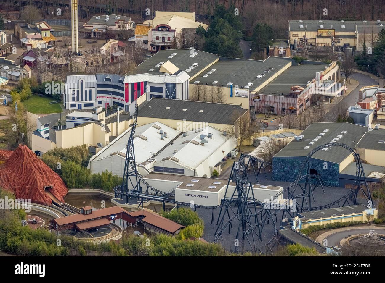 Luftaufnahme, Movie Park Deutschland, Freizeitpark, Bottrop-Kirchhellen, Ruhrgebiet, Nordrhein-Westfalen, Deutschland, DE, Europa, Luftaufnahmen, aeri Stockfoto