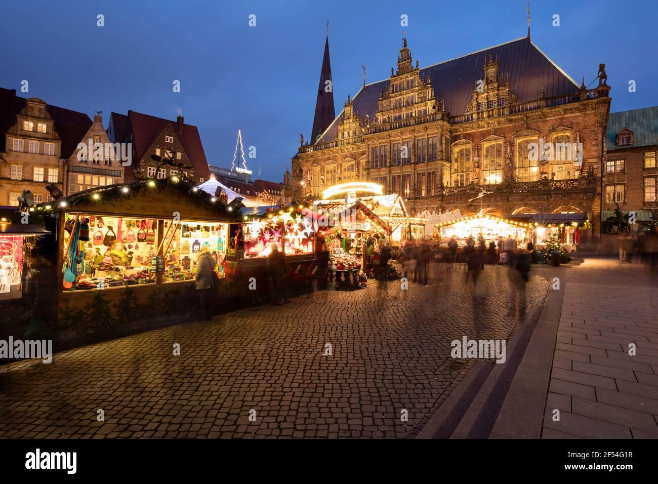 Geographie / Reisen, Deutschland, Bremen, Marktplatz, Rathaus, Weihnachtsmarkt, zusätzliche-Rechte-Clearance-Info-nicht-verfügbar Stockfoto