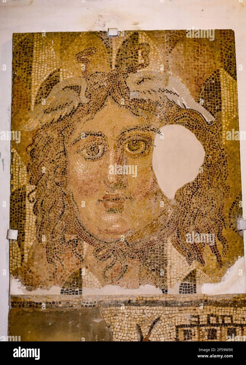 Kopf, Mosaik, Cyrene Museum, Libyen Stockfoto