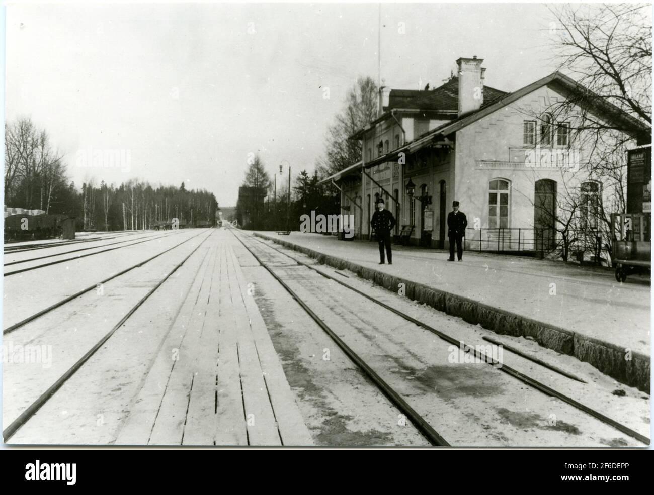 Bahnhof Åmot, später Åmotors. Stockfoto