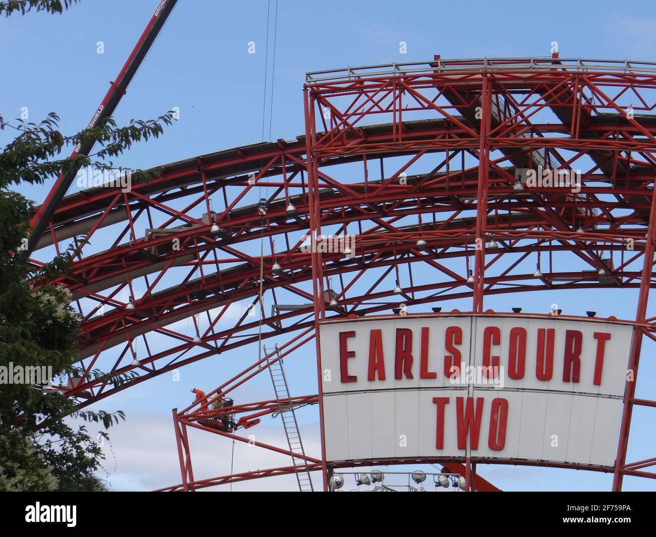 Abriss des Ausstellungszentrums EARL's Court IN London, Großbritannien Stockfoto