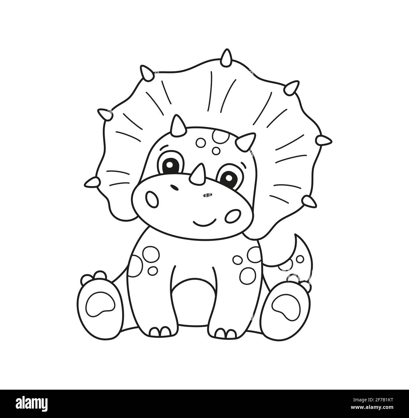 Niedliche kleine Dinosaurier für Kind zum Ausmalen. Kinder Puzzle