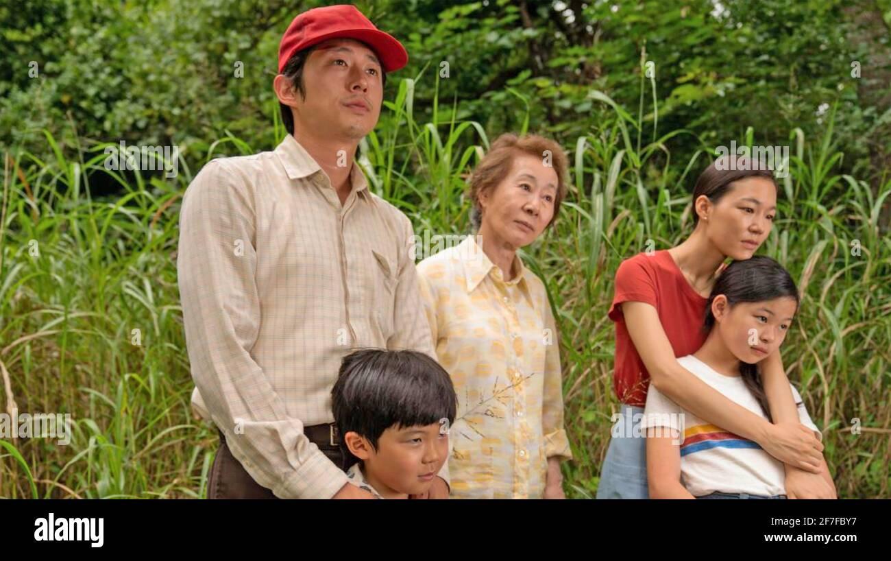 MINARI 2020 A24 Film mit von links: Steve Yeun, Alan S. Kim, Yuh-Jung Youn, Yeri Han, Noel Chu Stockfoto