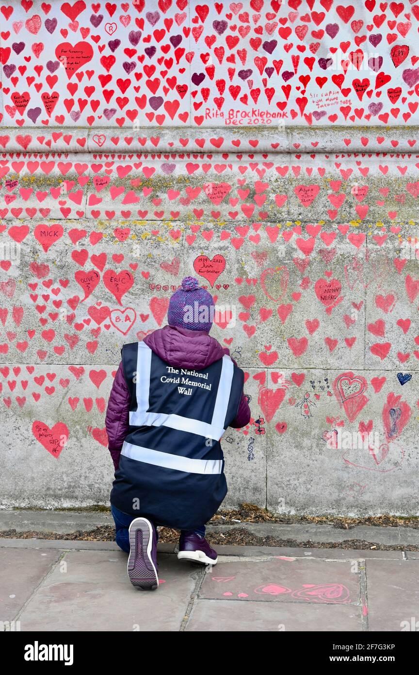 London. VEREINIGTES KÖNIGREICH. Die National Covid Memorial Wall im St. Thomas' Hospital Westminster wird weiterhin mit Herzen ausgestattet, um an diejenigen zu erinnern, die während der Pandemie an einem Coronavirus gestorben sind. Stockfoto