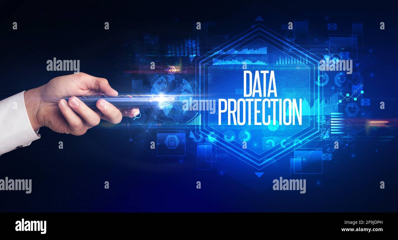 Handgriff für drahtlose Peripheriegeräte, Cyber-Sicherheitskonzept Stockfoto
