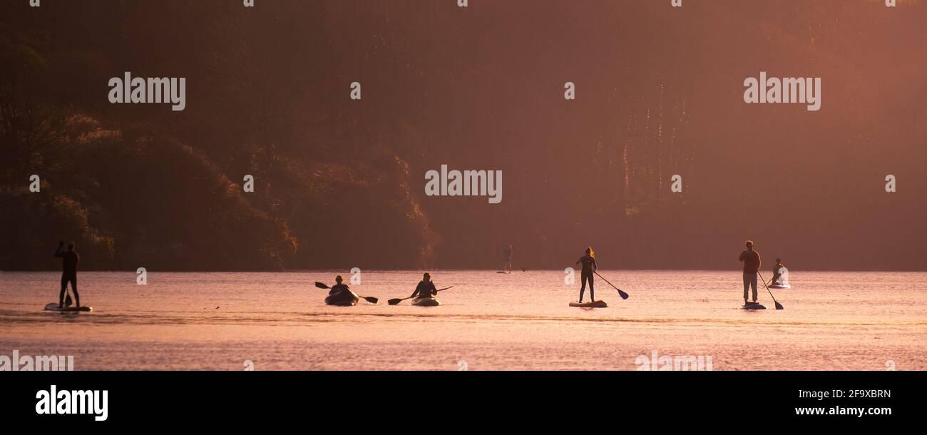 Ein Panoramabild von Menschen, die Panoramic paddeln; auf dem Gannel River in Kajaks und auf Paddleboards in Newquay in Cornwall. Stockfoto