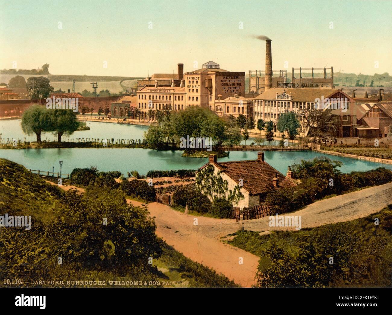Die Medizinfabrik von Burroughs und Wellcome in Dartford, Kent, wurde um 1890-1900 erbaut Stockfoto