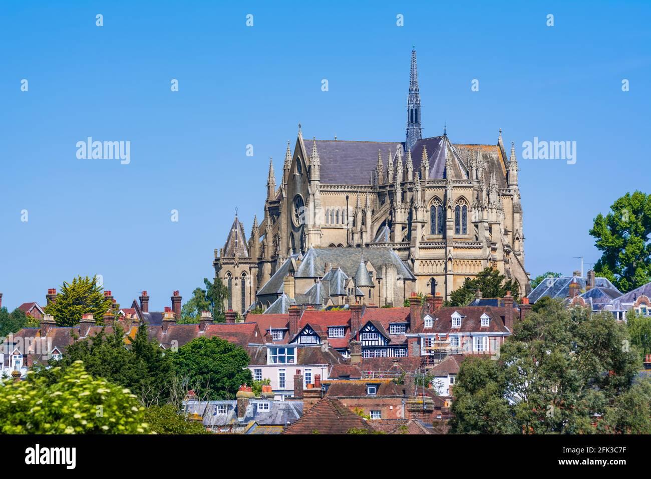 Arundel Kathedrale, eine römisch-katholische Kathedrale mit der Architektur im Stil von Gothic Revival in Arundel, West Sussex, England, UK. Britische Kathedrale. Stockfoto