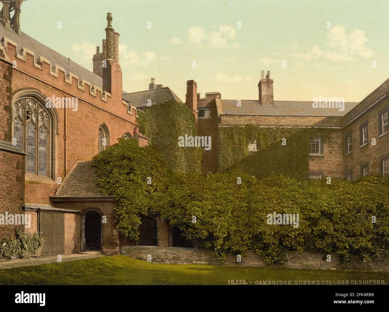 Queen's College Cloisters, Cambridge University, Cambridge um 1890-1900 Stockfoto