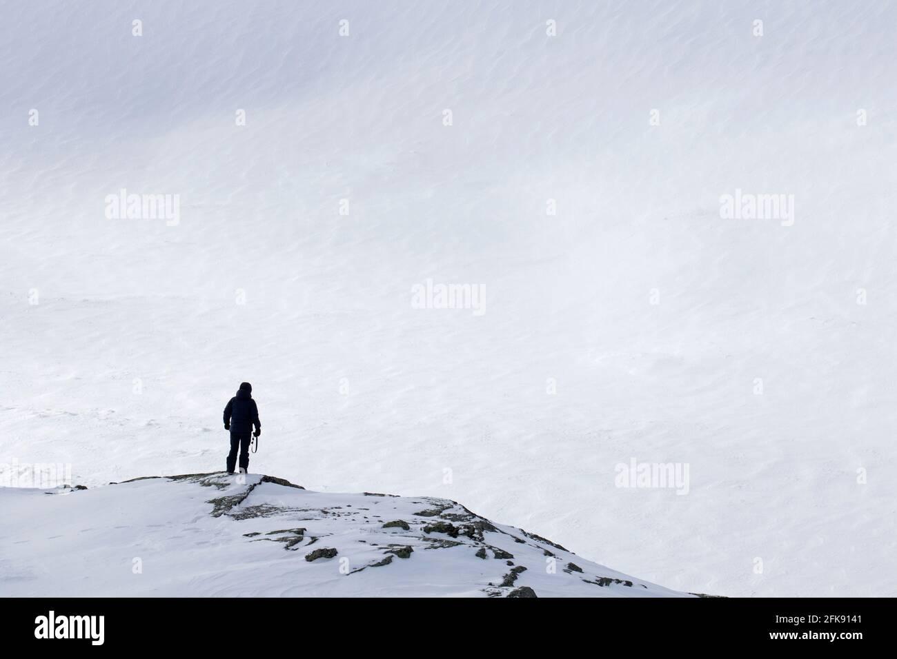 Einsamer Tourist mit Blick auf die schneebedeckte Ebene im Dovrefjell-Sunndalsfjella Nationalpark im Winter, Norwegen Stockfoto