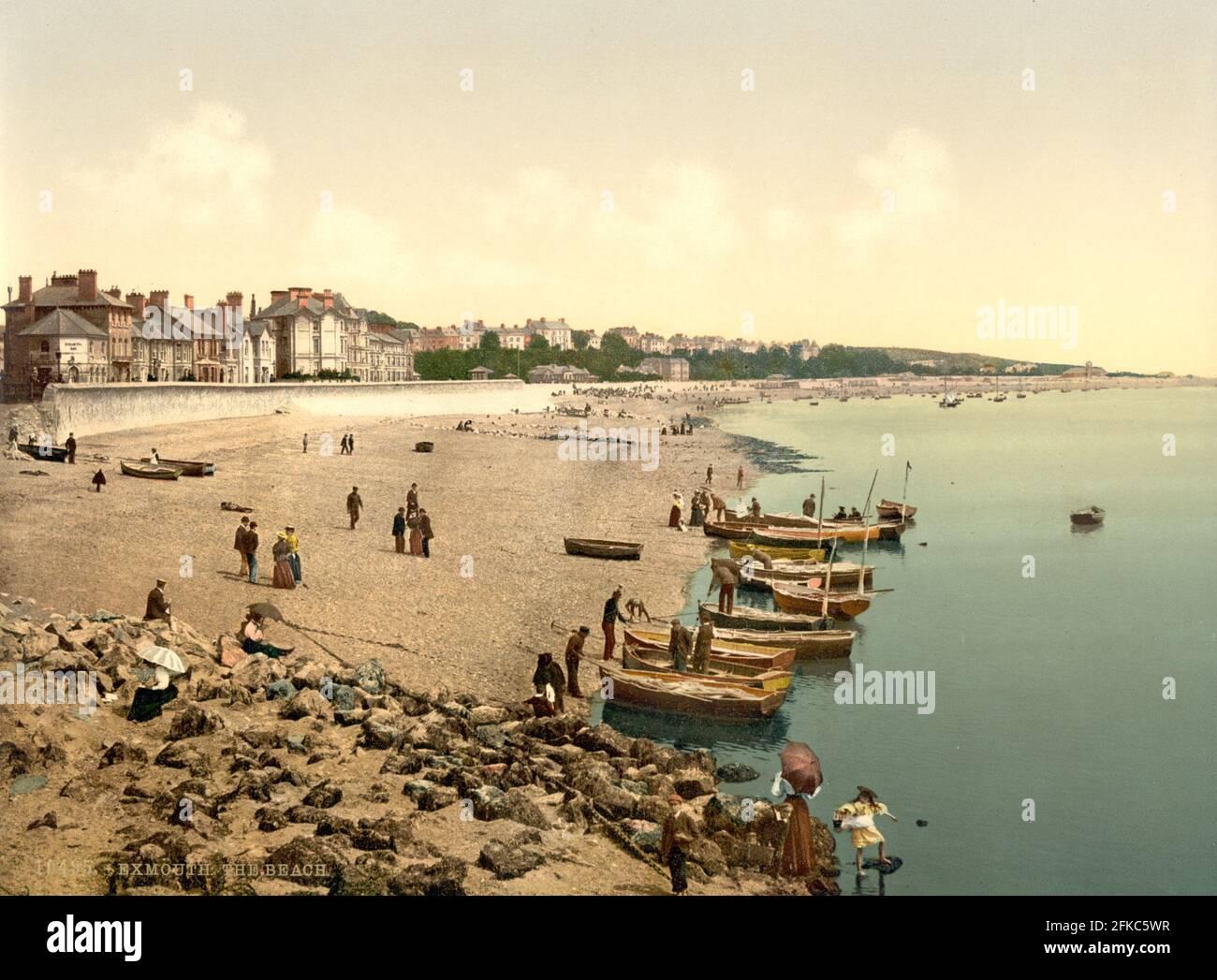 Exmouth Beach, Devon um 1890-1900 Stockfoto