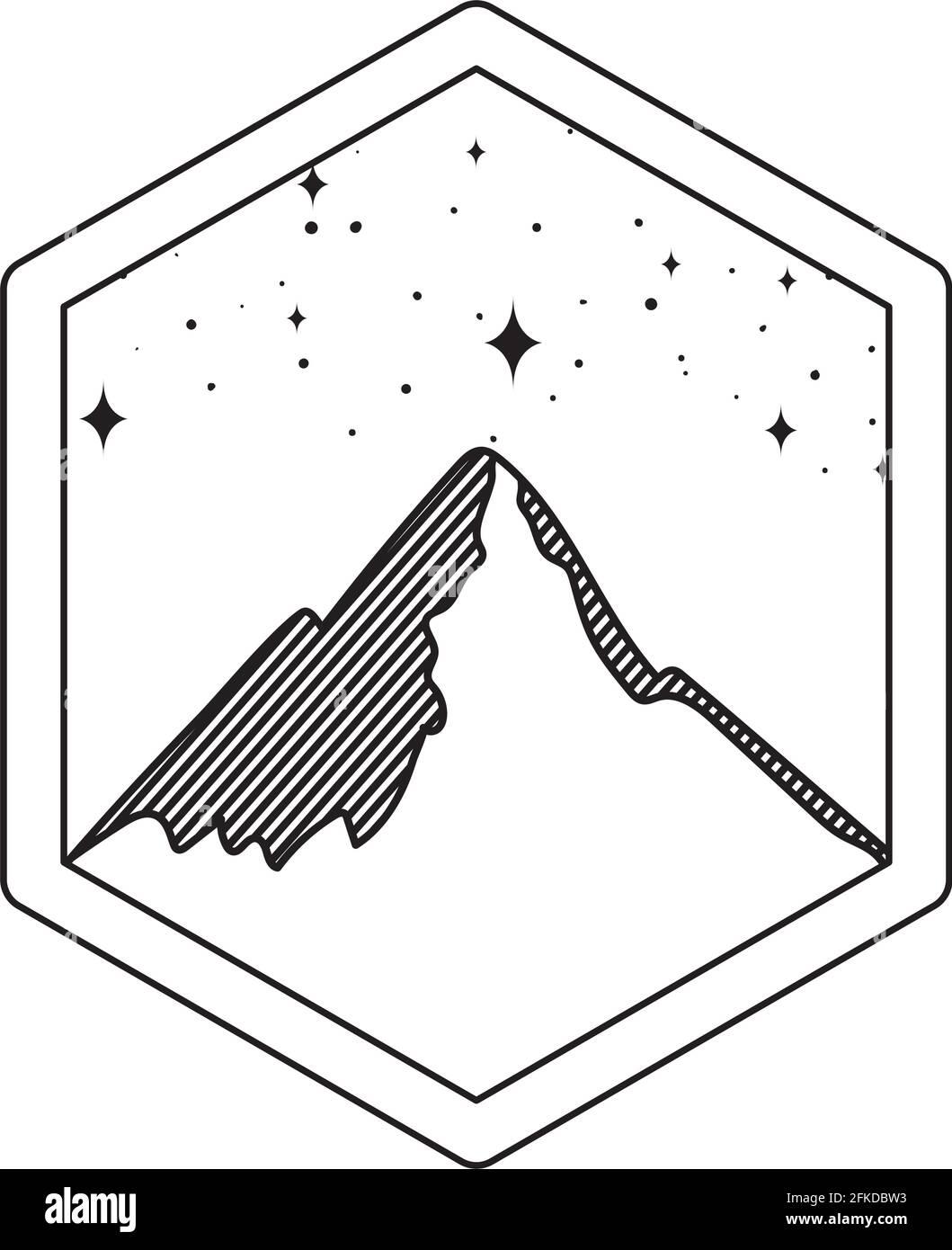 Abzeichen mit Bergsilhouette Stock Vektor