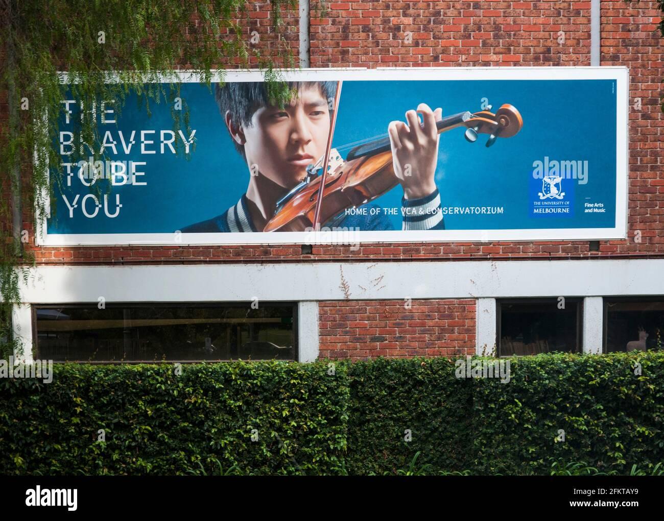 Banner zur Studentenrekrutierung, Victorian College of the Arts and Conservatorium, Melbourne, Australien Stockfoto