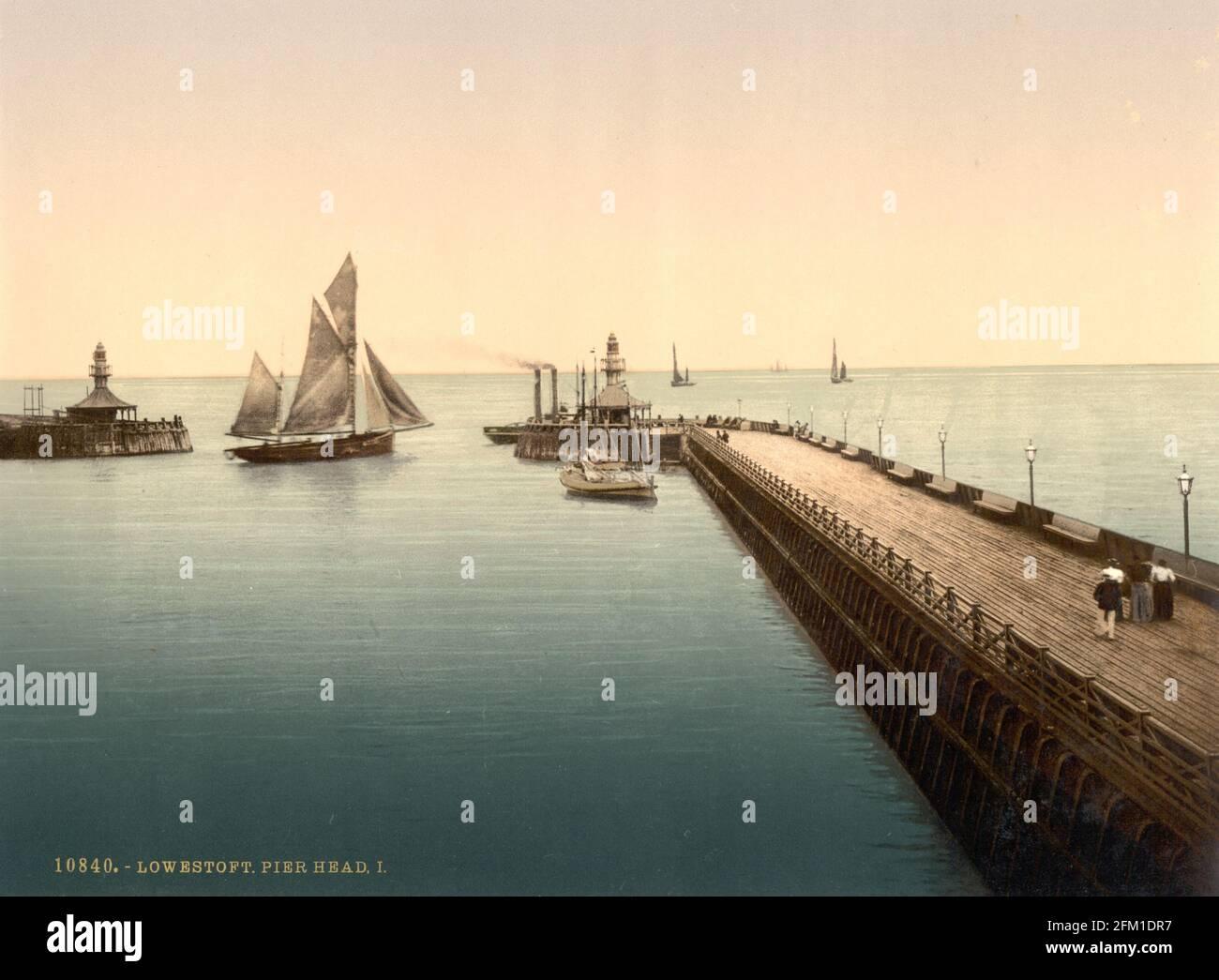 Lowestoft Pier in Suffolk um 1890-1900 Stockfoto