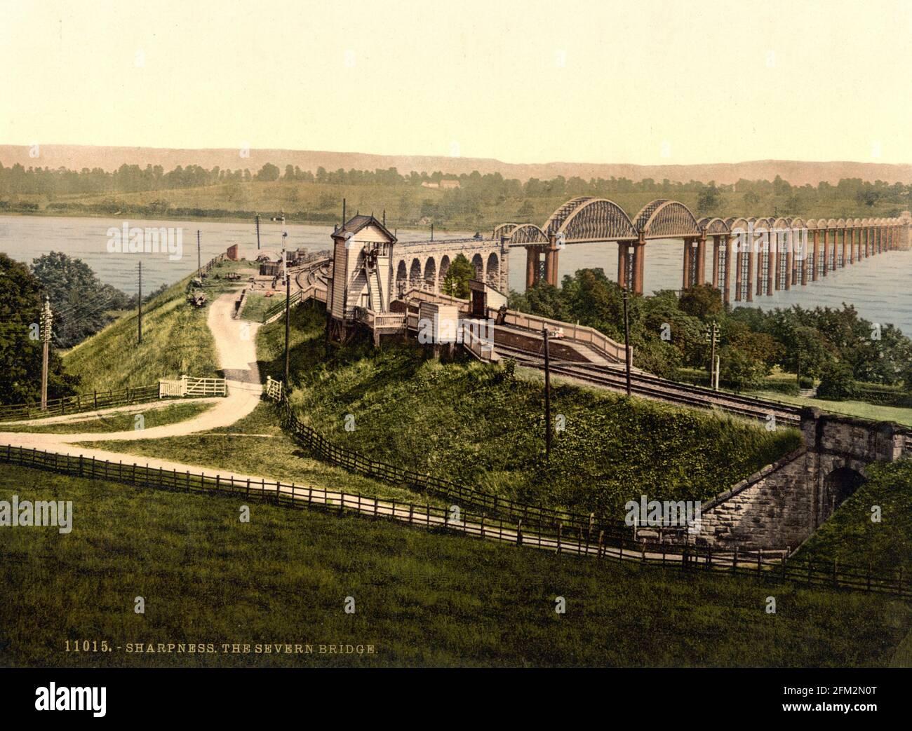 Die Eisenbahnbrücke von Severn (jetzt abgerissen) Zwischen Schärfe und Lydney um 1890-1900 Stockfoto