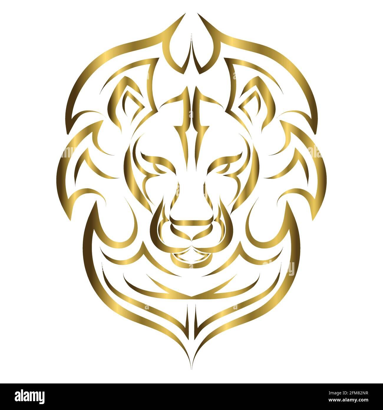 Goldene Linienkunst der Vorderseite des Löwenkopfes. Es ist ein ...