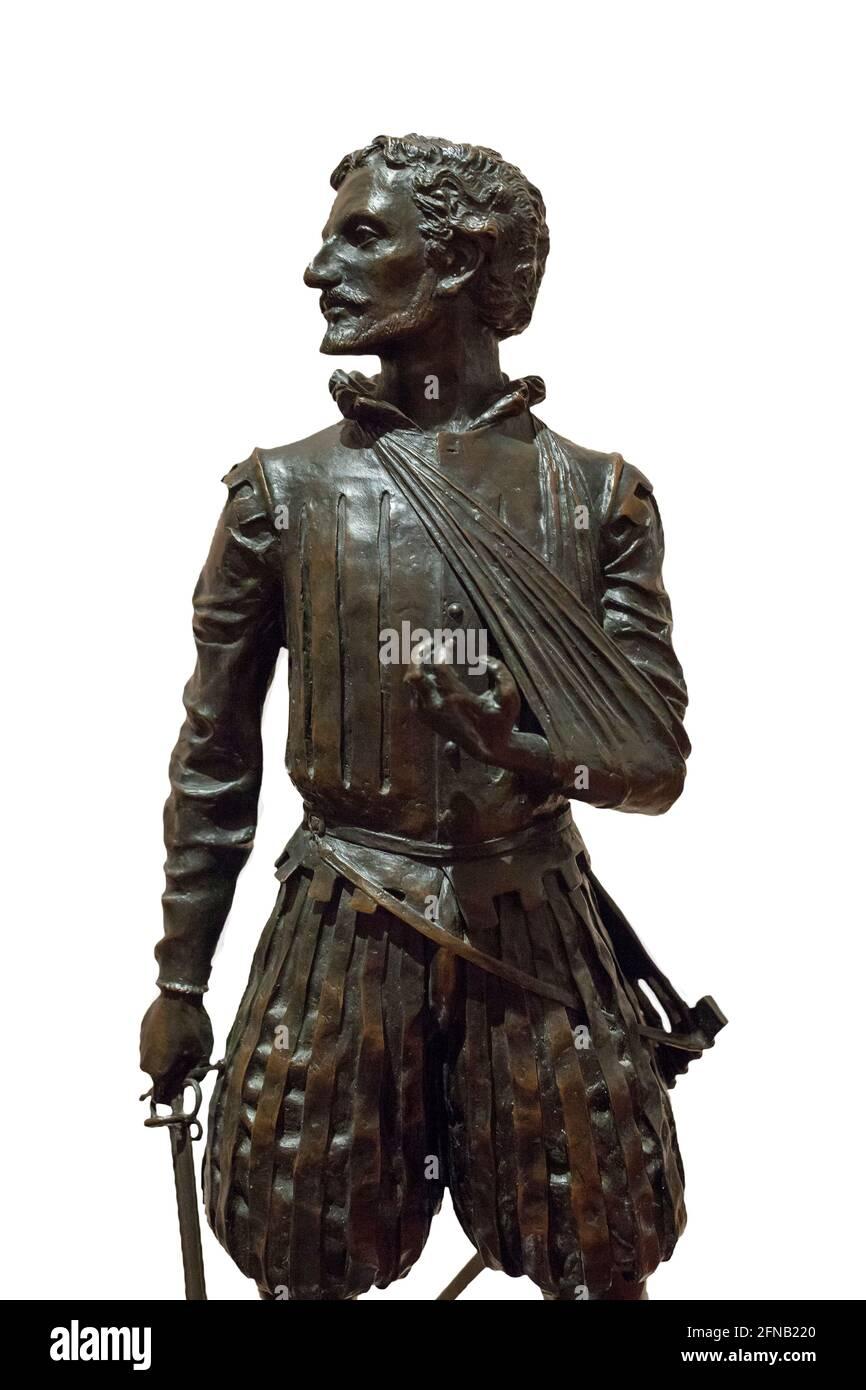 Miguel de Cervantes Saavedra Statue, dargestellt als Schlacht von Lepanto Soldat. Von Sergio Blanco, 1999. Museo Naval de Stockfoto