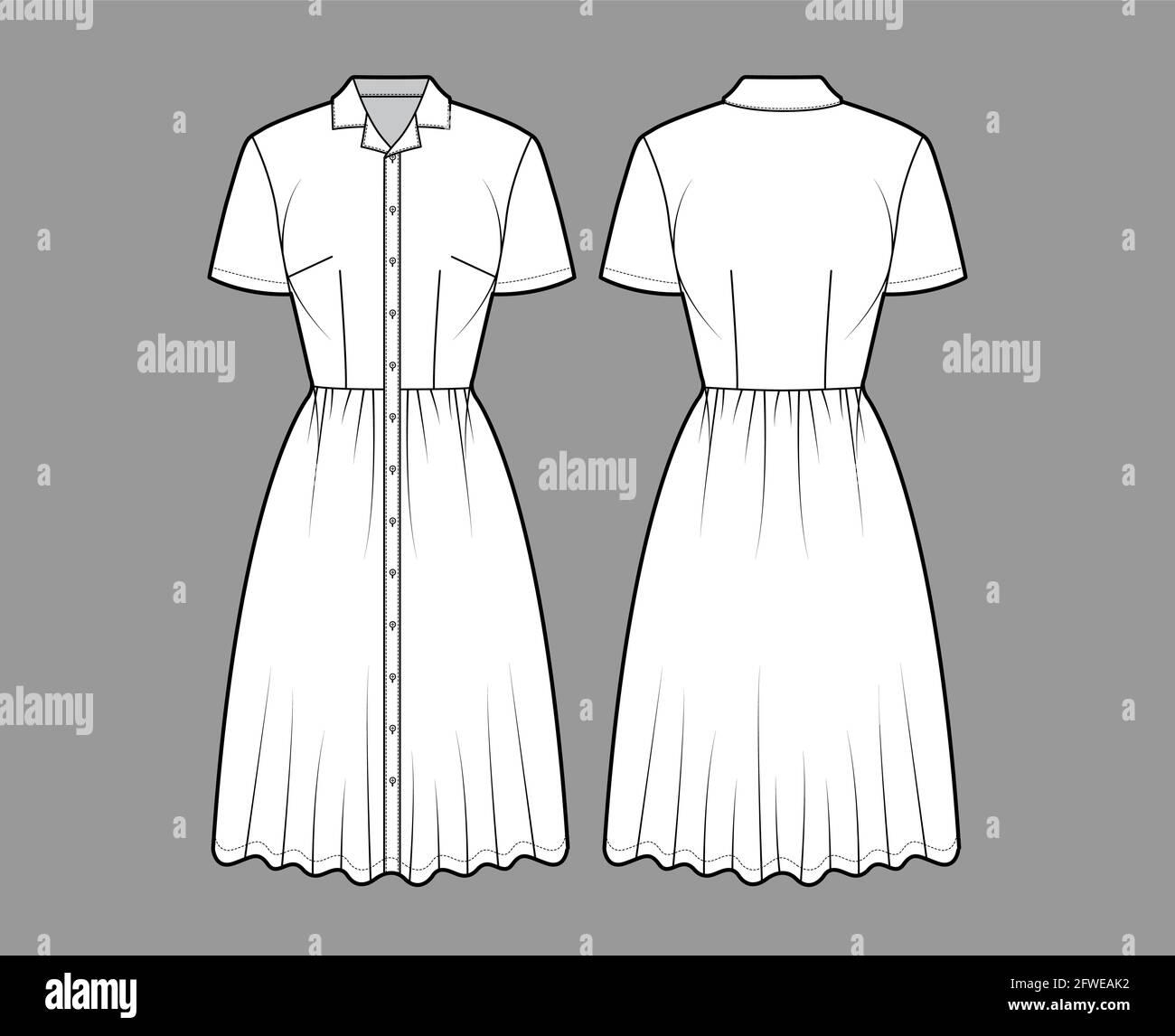 Kleid Hemd technische Mode Illustration mit kurzen Ärmeln, Camp ...