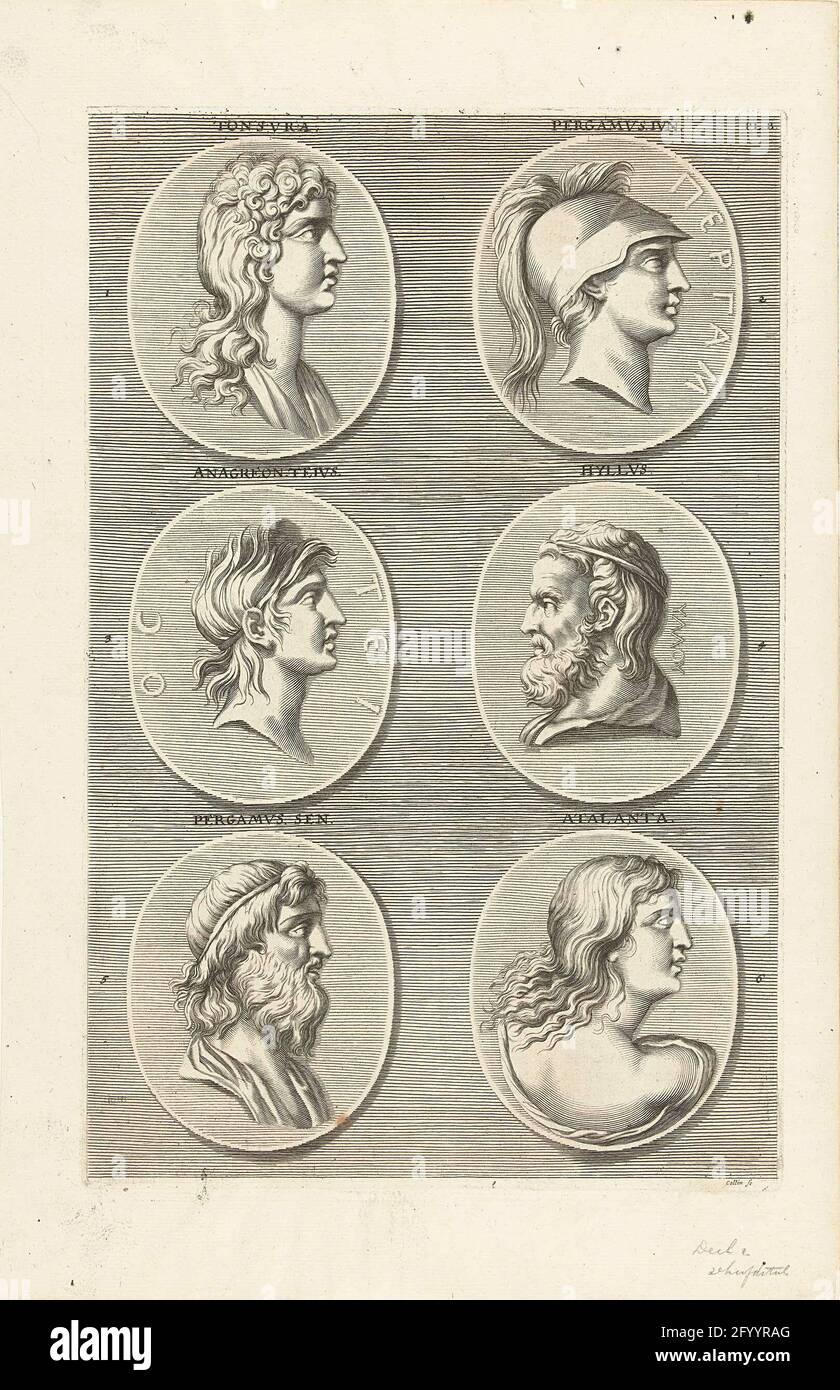 Sechs Münzen mit Porträts von Männern und Frauen aus der Antike: Buchstabe PL B. sechs Münzen mit Porträtbüsten von Männern und Frauen aus der Antike. Unter anderem Tonsura und Atalanta. Stockfoto