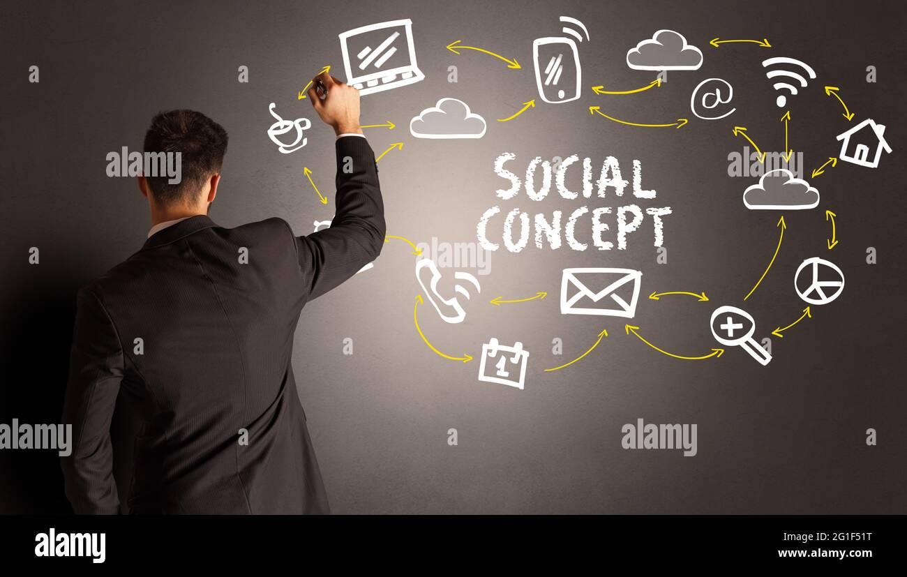 Geschäftsmann Zeichnung Social-Media-Symbole Stockfoto