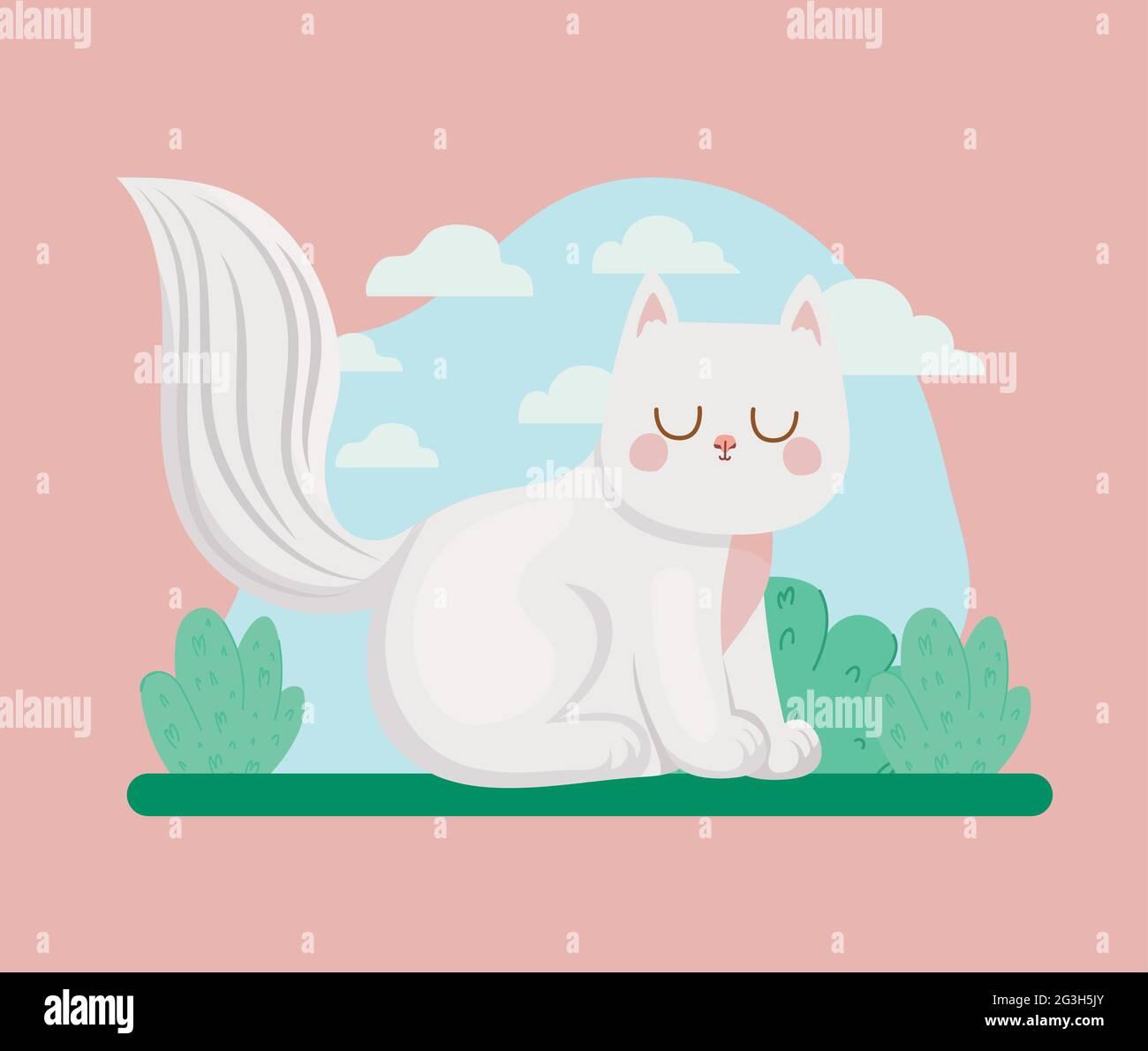 Katze und Büsche Stock Vektor