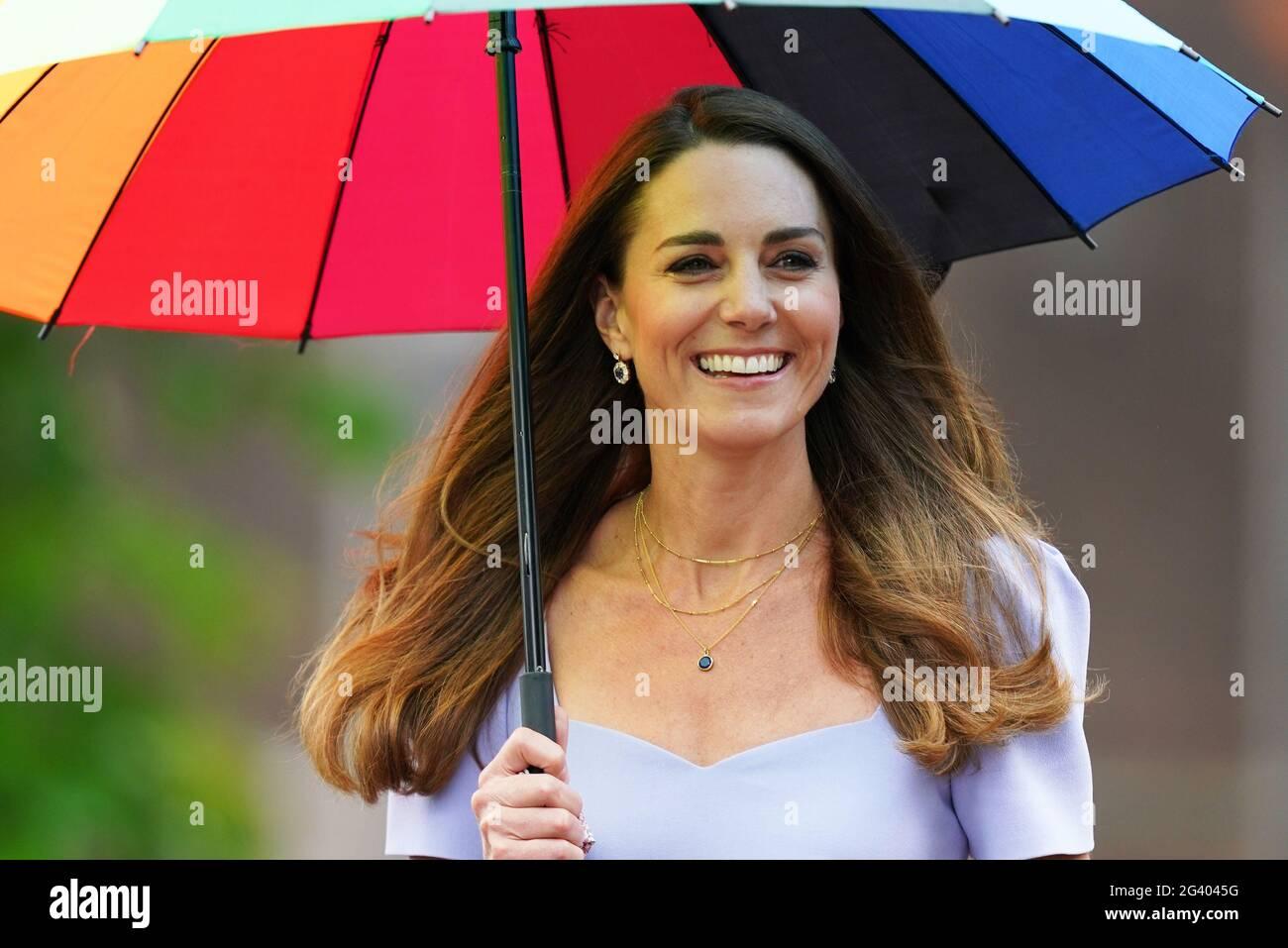 Die Herzogin von Cambridge im Kensington Palace in London am Tag der Gründung des Royal Foundation Centre for Early Childhood in London. Bilddatum: Freitag, 18. Juni 2021. Stockfoto