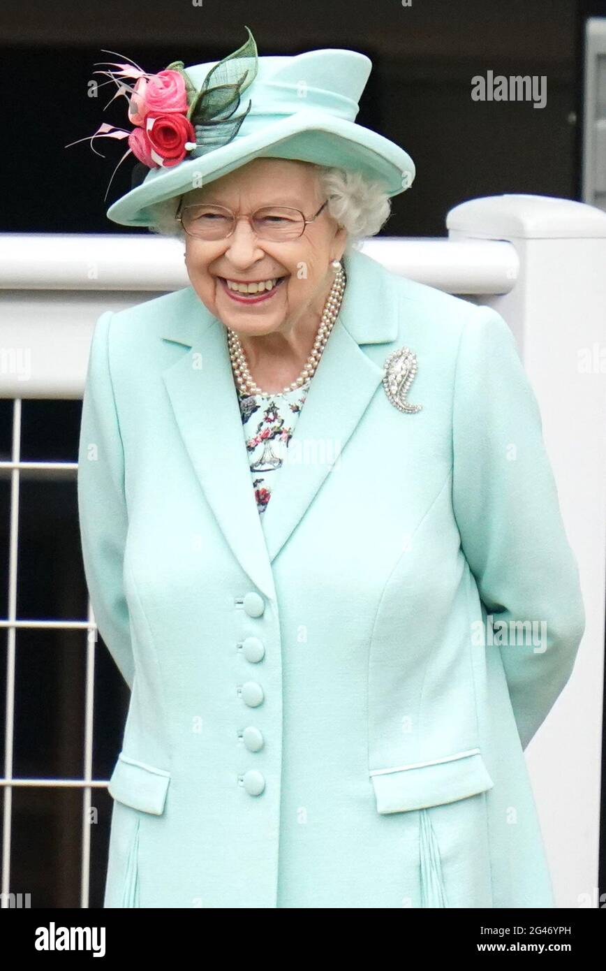 Queen Elizabeth II. Während des fünften Tages von Royal Ascot auf der Ascot Racecourse. Bilddatum: Samstag, 19. Juni 2021. Stockfoto