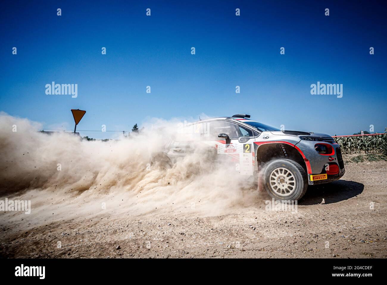Mikolajki, Polen. Juni 2021. 02 POOM Roland (EST), GARROD Darren (GBR), SAINTELOC JUNIOR TEAM, croen C3, Aktion während der Rallye Polen 2021, 1. Lauf der FIA-Rallye-Europameisterschaft 2021, vom 18. Bis 20. Juni 2020 in Mikolajki, Polen - Foto Grégory Lenormand / DPPI Credit: DPPI Media/Alamy Live News Stockfoto
