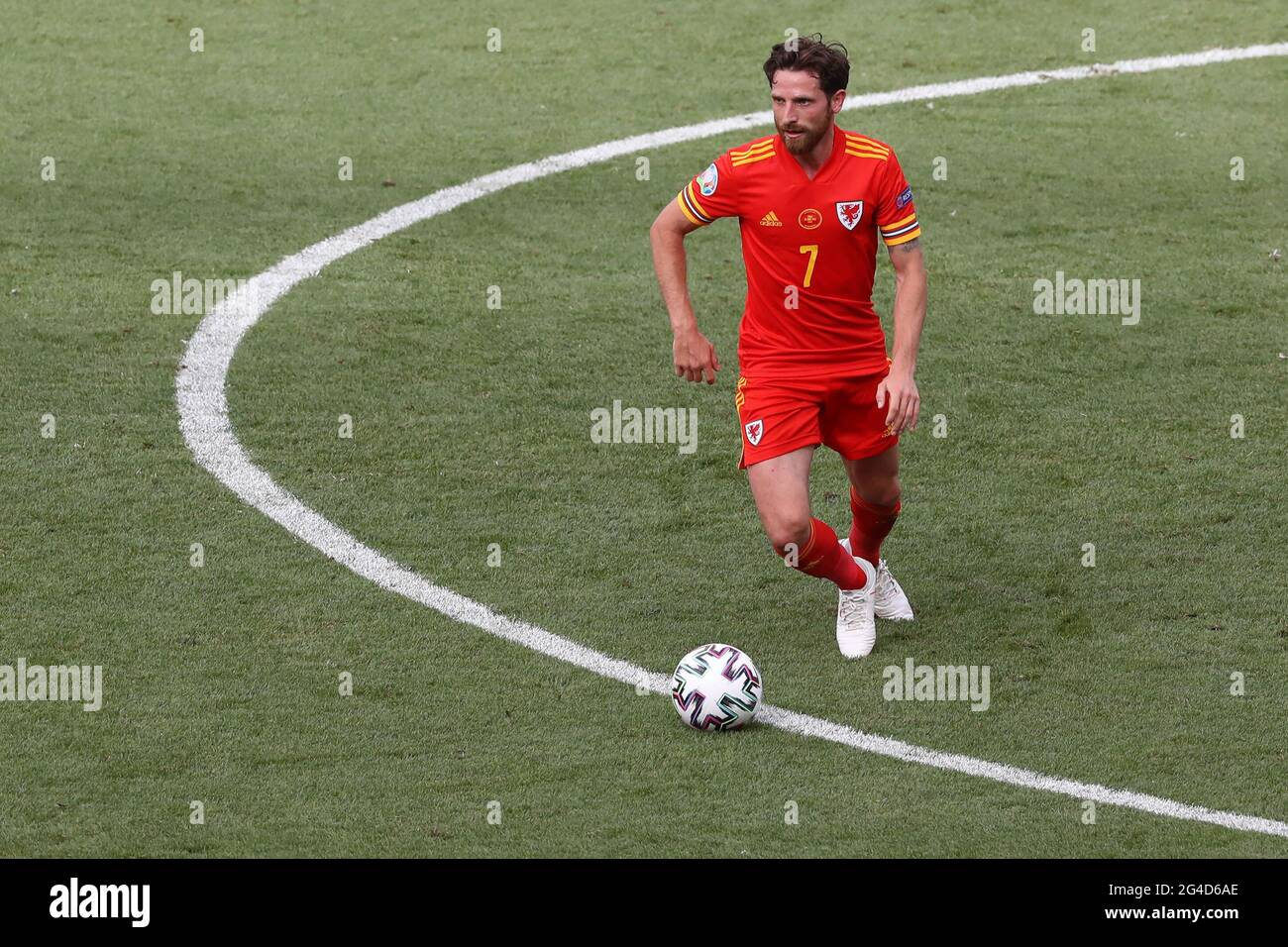 Rom, Italien, 20. Juni 2021. Joe Allen aus Wales während des UEFA-EM-2020-Spiels im Stadio Olimpico, Rom. Bildnachweis sollte lauten: Jonathan Moscrop / Sportimage Stockfoto