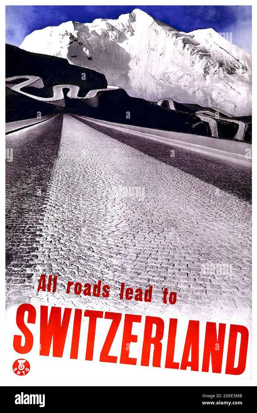 Ein Vintage-Reiseposter für die Schweiz Stockfoto