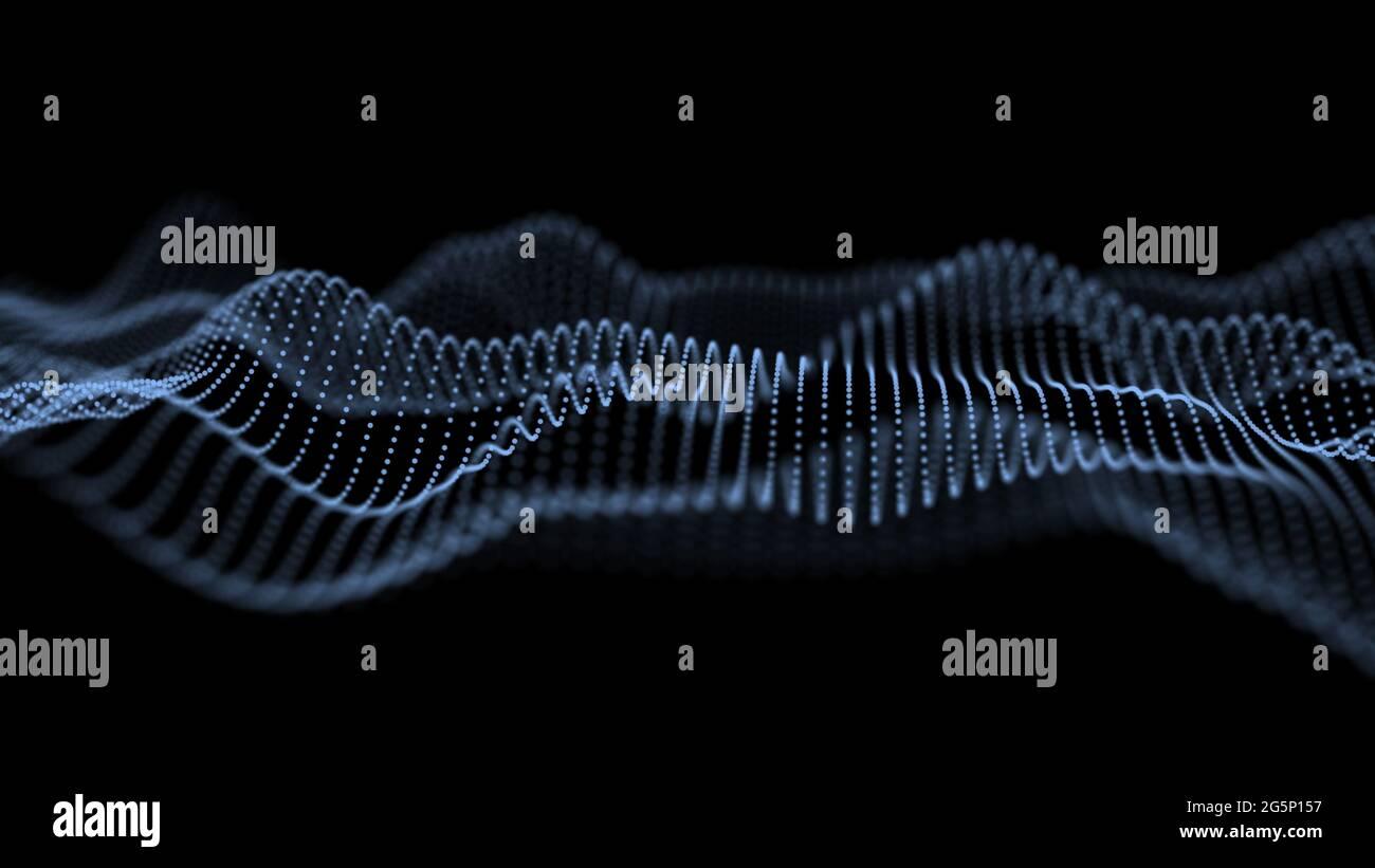 Abstrakter futuristischer Hintergrund. Big-Data-Visualisierung. Dynamische Welle von Partikeln. 3D-Rendering. Stockfoto