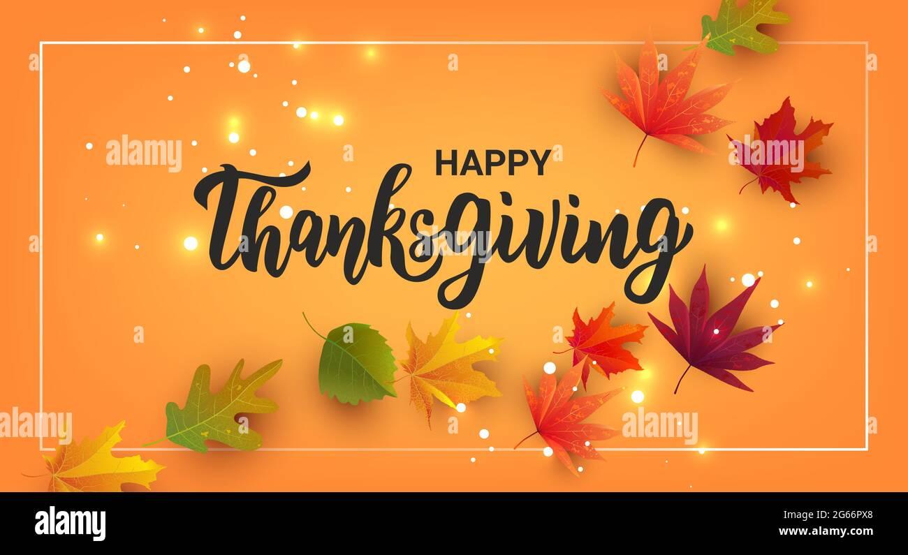 Happy Thanksgiving Hand Schriftzug Text Grusskarte Zur Feier Des Thanksgiving Tages Stock Vektorgrafik Alamy