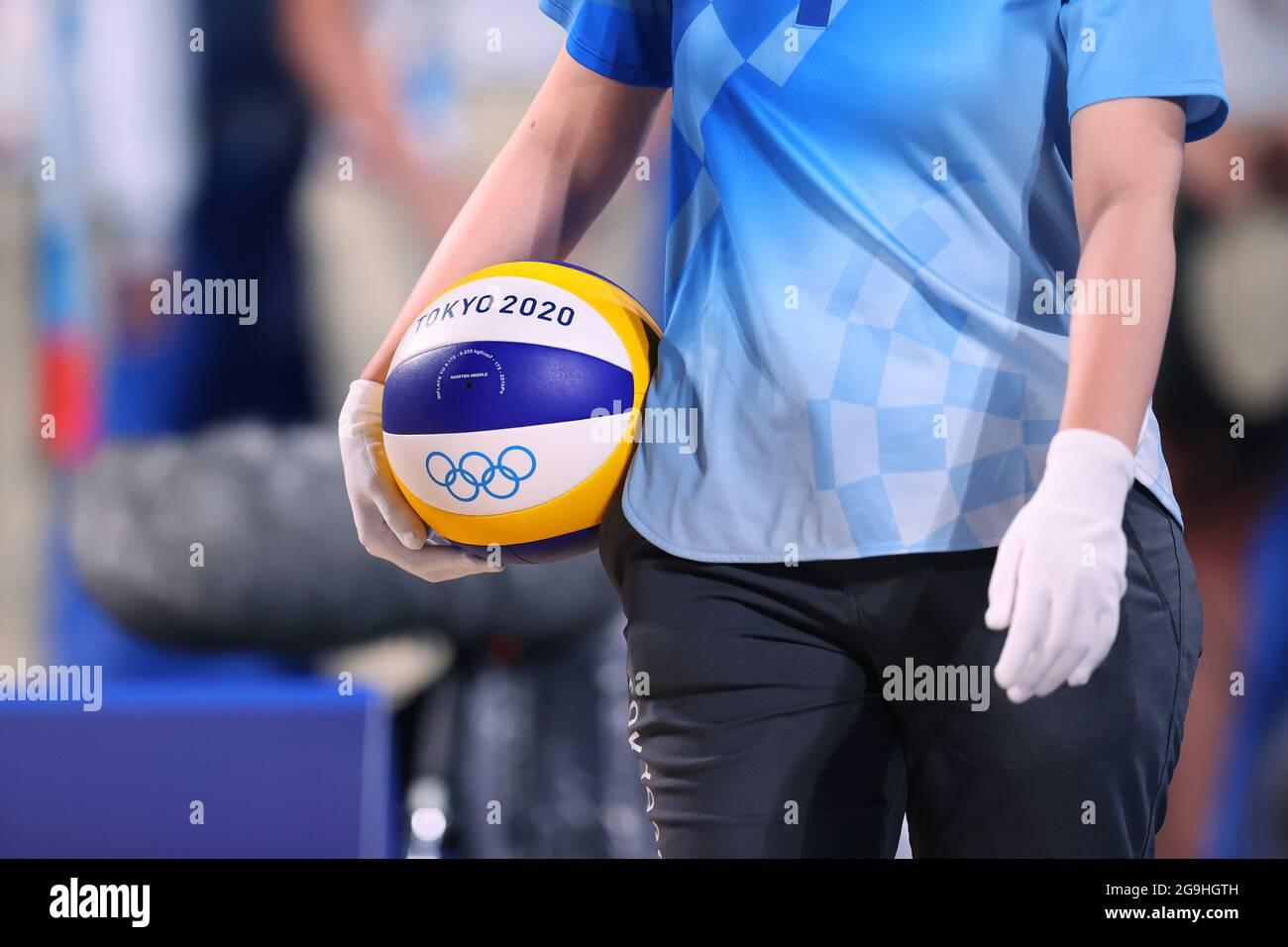 Tokio, Japan. Juli 2021. Allgemeine Ansicht Beach Volleyball: Frauen-Vorbereitende während der Olympischen Spiele in Tokio 2020 im Shiokaze Park in Tokio, Japan. Quelle: Naoki Morita/AFLO SPORT/Alamy Live News Stockfoto