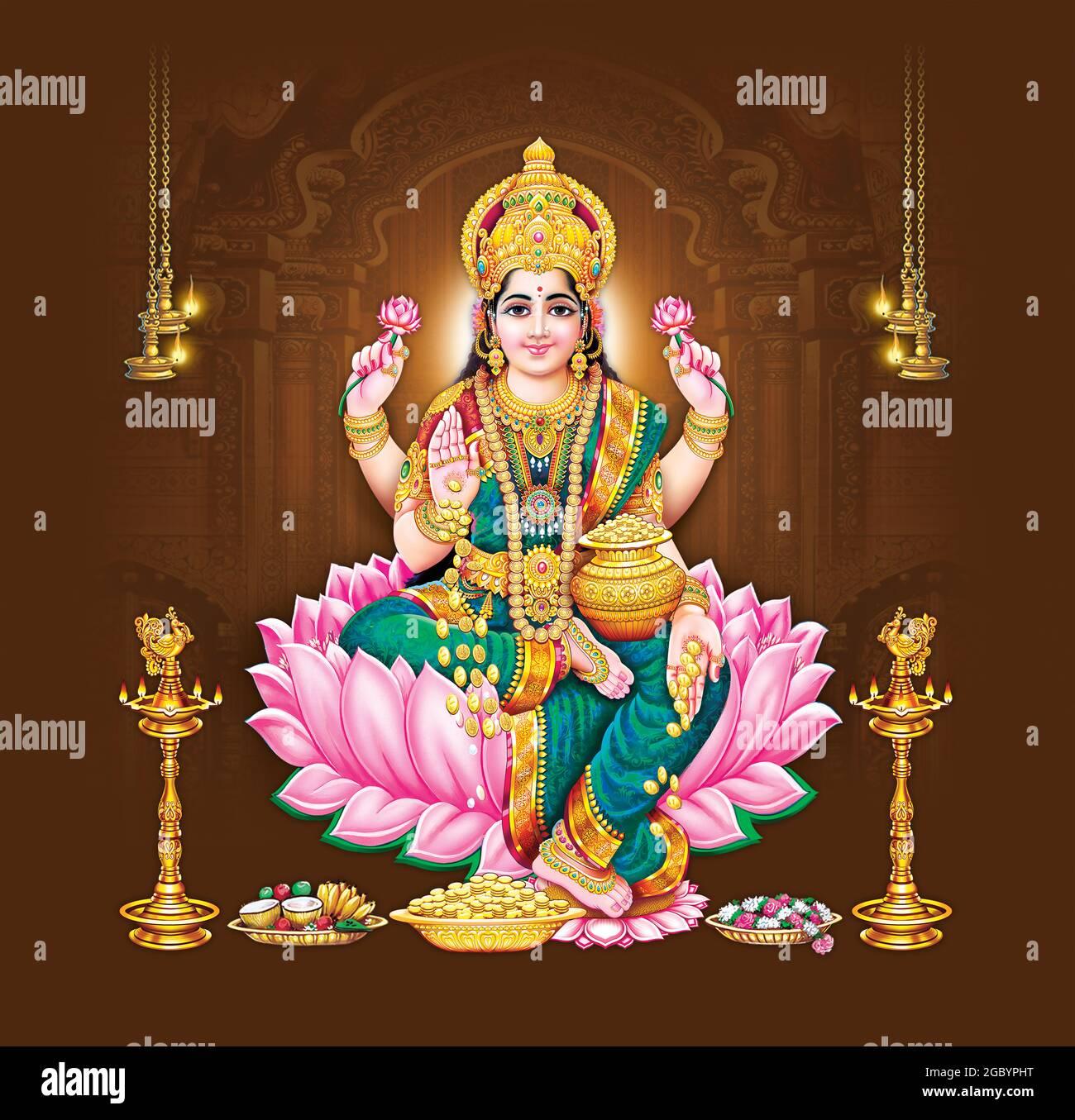Trending New Hindu God Lakshmi Sitzen Bei Lotus Schone Malerei Kunst Stockfotografie Alamy