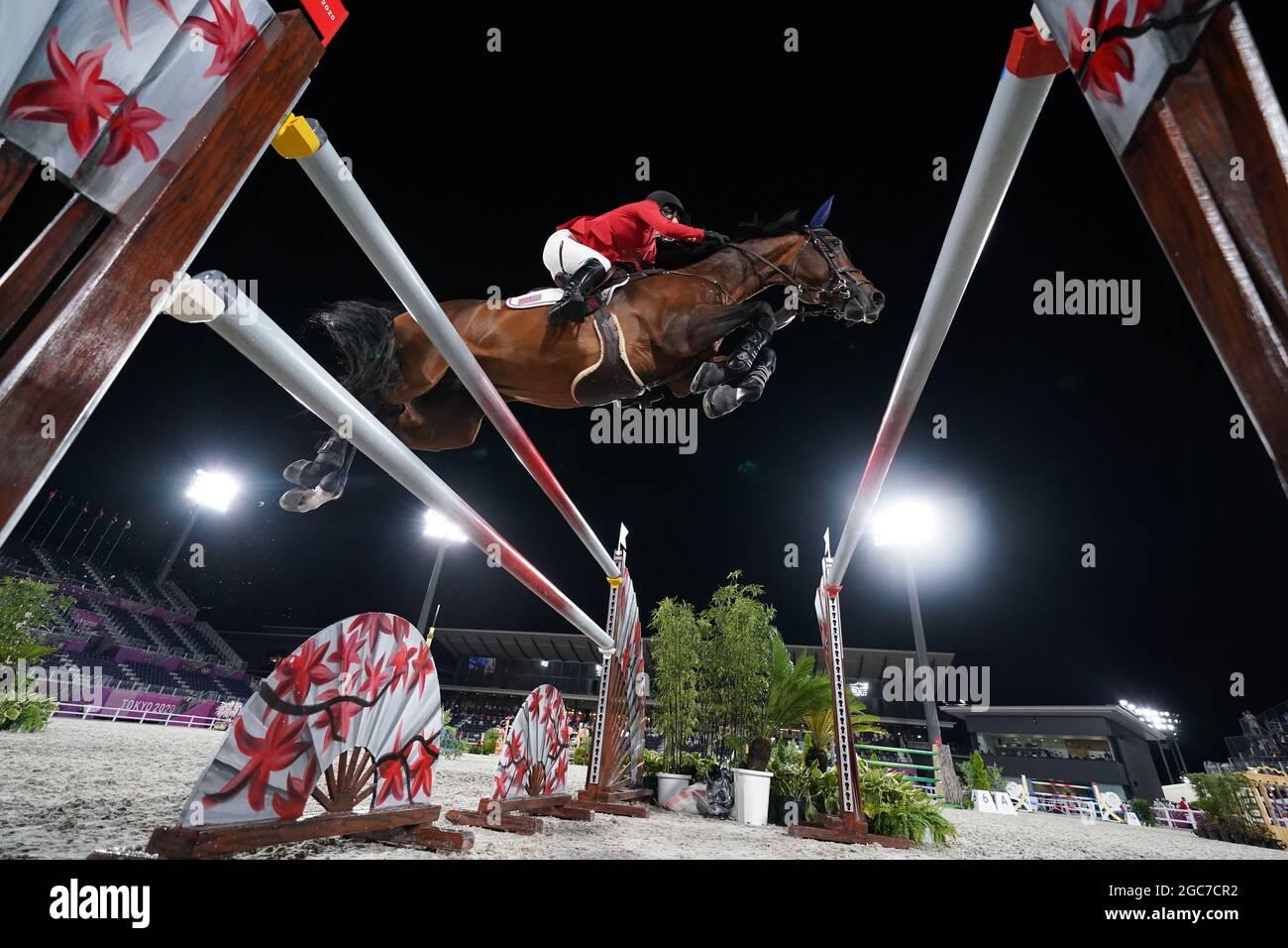 Jessica Springsteen aus den USA an Bord von Don Juan Van De Donkhoeve während des Jumping Team Finales im Equestrian Park am 15. Tag der Olympischen Spiele in Tokio 2020 in Japan. Bilddatum: Samstag, 7. August 2021. Stockfoto