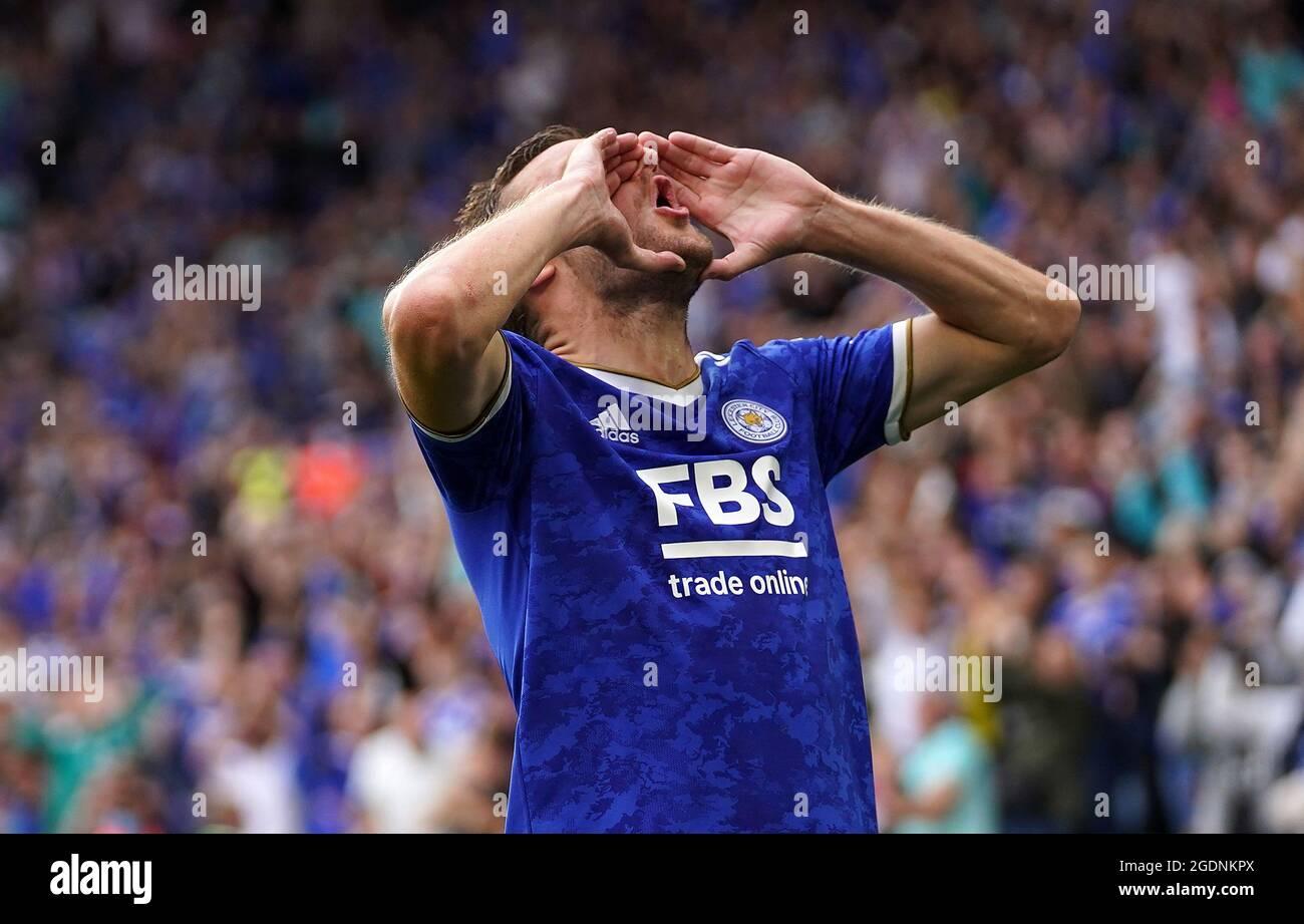 Jamie Vardy von Leicester City feiert das erste Tor ihrer Spielmannschaft während des Premier League-Spiels im King Power Stadium, Leicester. Bilddatum: Samstag, 14. August 2021. Stockfoto