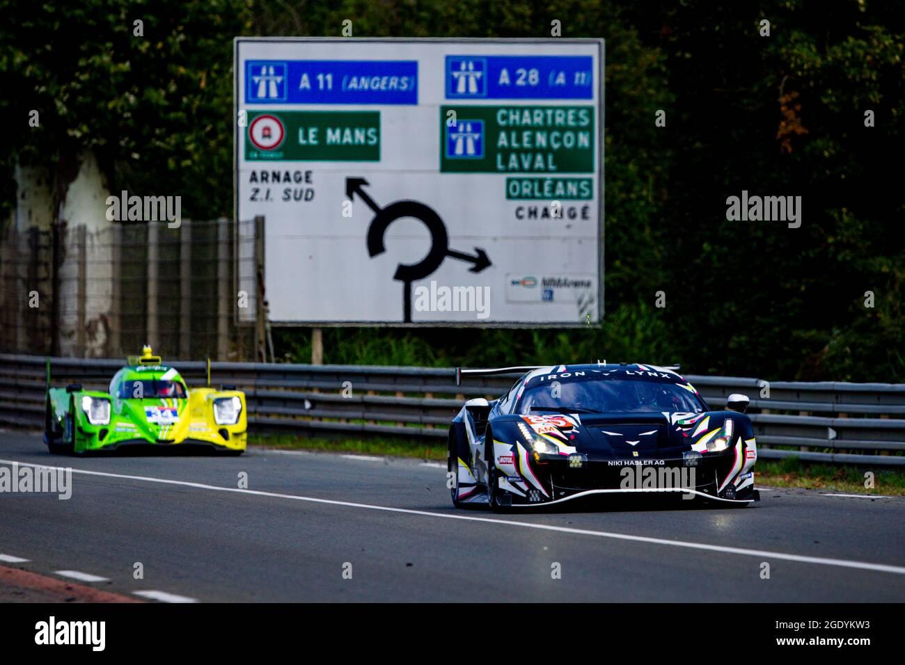 85 Frey Rahel (SWI), Gatting Michelle (dnk), Bovy Sarah (bel), Iron Lynx, Ferrari 488 GTE Evo, Aktion während des Testtages von Le Mans vor dem 4. Lauf der FIA-Langstrecken-Weltmeisterschaft 2021, FIA WEC, auf dem Circuit de la Sarthe, am 15. August 2021 in Le Mans, Frankreich - Foto Joao Filipe / DPPI Stockfoto